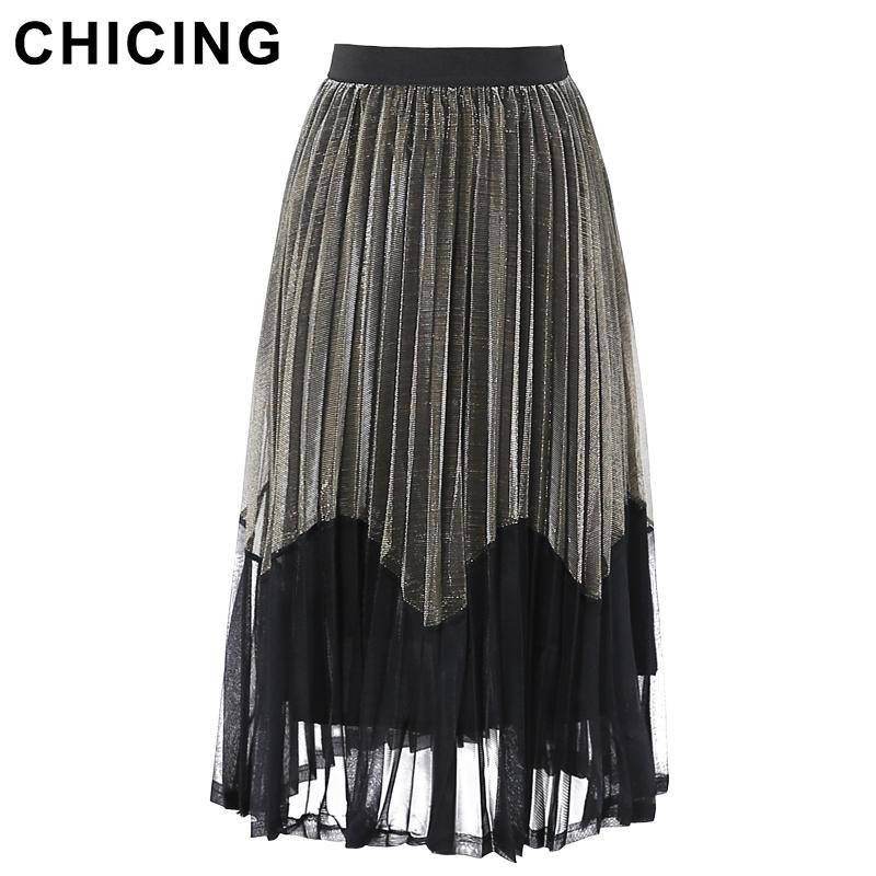 CHICING Women Mesh Patchwork Wave Color Block Metallic Midi Skirt 2016 Fashion High Street Female Basic Skirt Saias B1610018(China (Mainland))