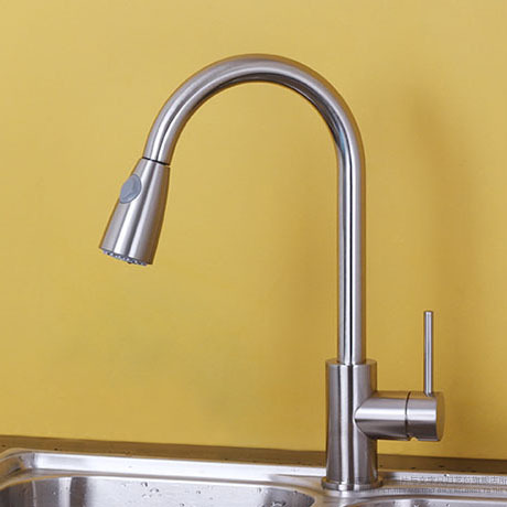 Pull Out Kitchen Faucet Brass Surface Brushed Single