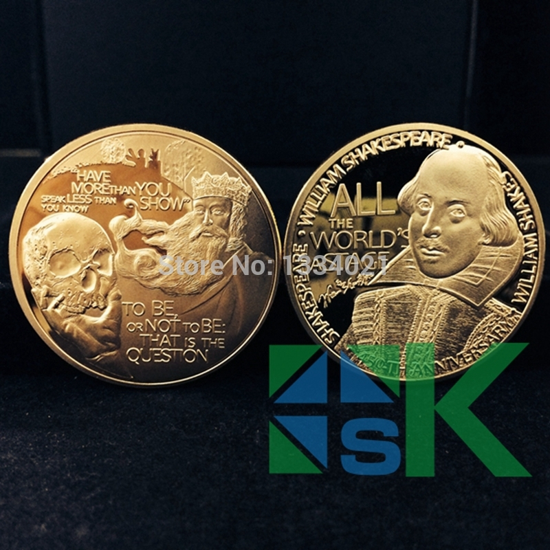 New!! 5 pcs/lot free shipping idea gift choice New Euro Coin US Hot selling William Shakespeare souvenir coins(China (Mainland))