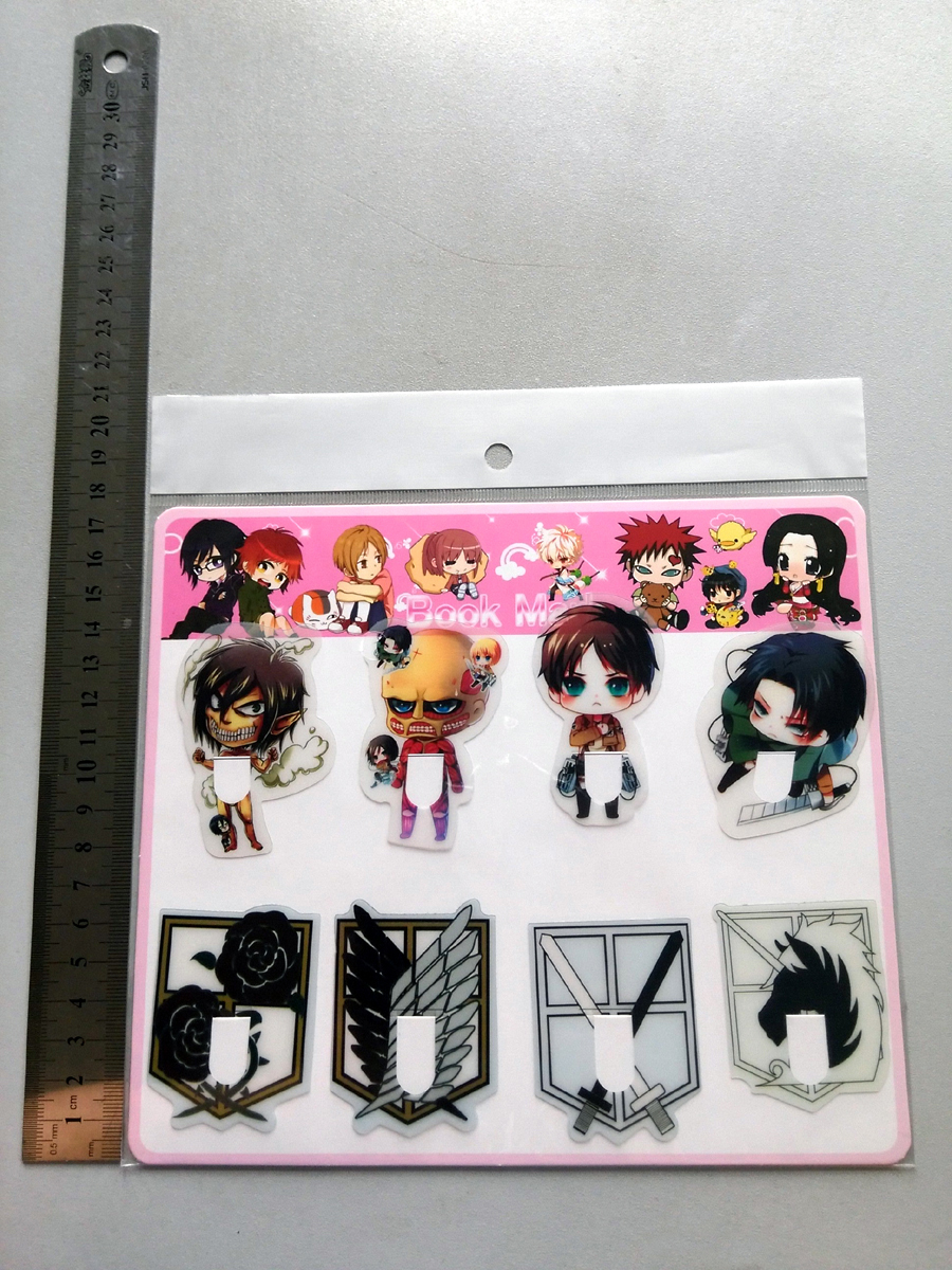 8pcs/set PVC Anime Bookmarks printed with Anime Attack on Titan Eren/Mikasa/Levi/wings of liberty(China (Mainland))