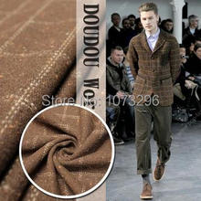 Autumn / winter Limited High-end boutique gentleman man tartan wool fabrics coffee color