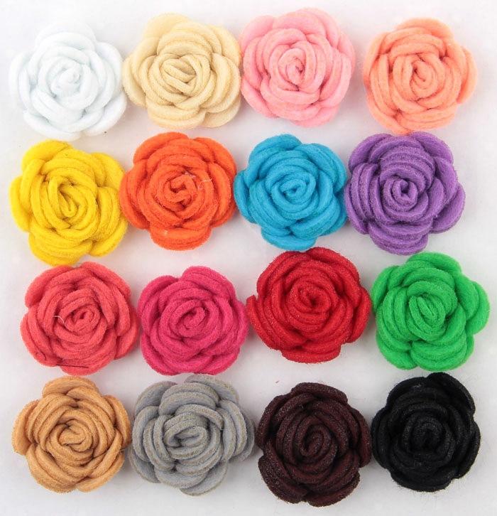 Free Shipping!2015 New 60pcs/lot 16colors Fashion handmade felt rose flower Diy for hair accessories headband ornaments(China (Mainland))