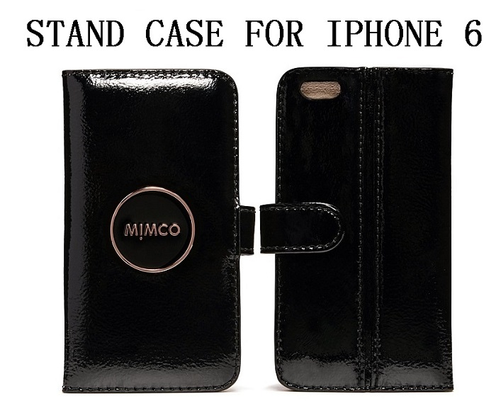 FREE SHIPPING MIMCO MIM POUCH STAND CASE FOR IPHONE 6 PATENT BLACK  ROSE GOLD Enamel MIMCO Badge