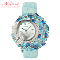 Women s Watch Hours Japan Quartz Fashion Hollow Dress Bracelet Leather Shell Luxury Rhinestones Crystal Girl