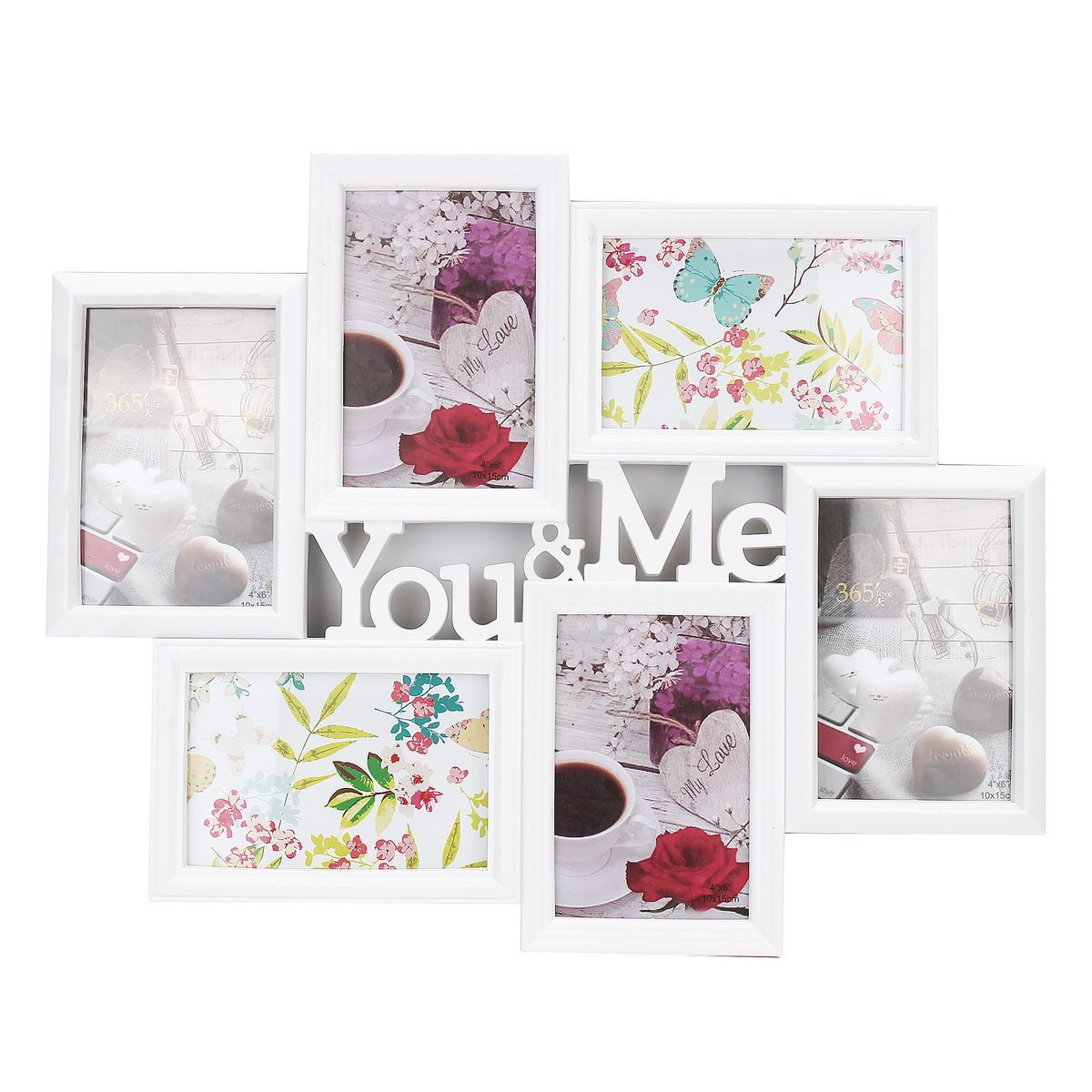 You&Me Pictures 6 Images Display Aperture Photo Frame Wall Decor Collage Gift 6 Inch Photo Love Theme Frame Household Decoration(China (Mainland))