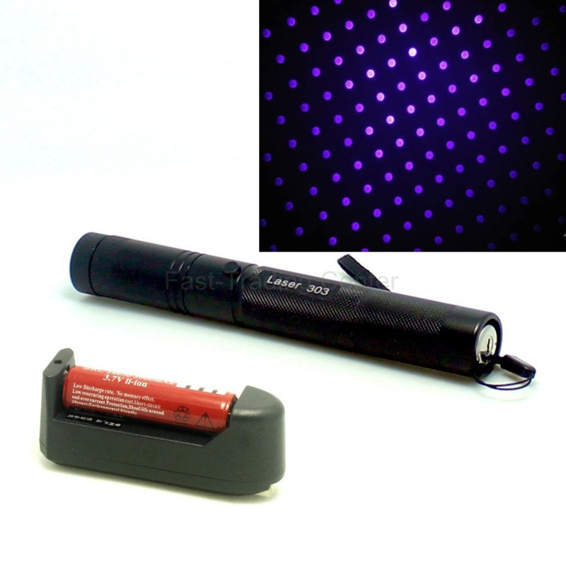 Blue /purple Laser 303 Pointer 405nm 200mw Light Pen Lazer Beam High power blue laser point +3000mah Battery +charger - Fast-Trading Center store
