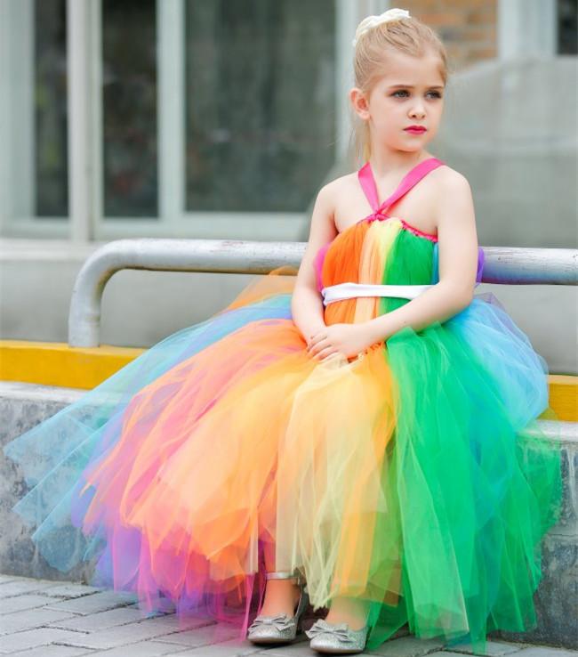 Children clothing Girls Sling sleeveless Dress /Handmade custom Candy-colored Mesh Gauze Elsa costume Princess Tutu dress(China (Mainland))