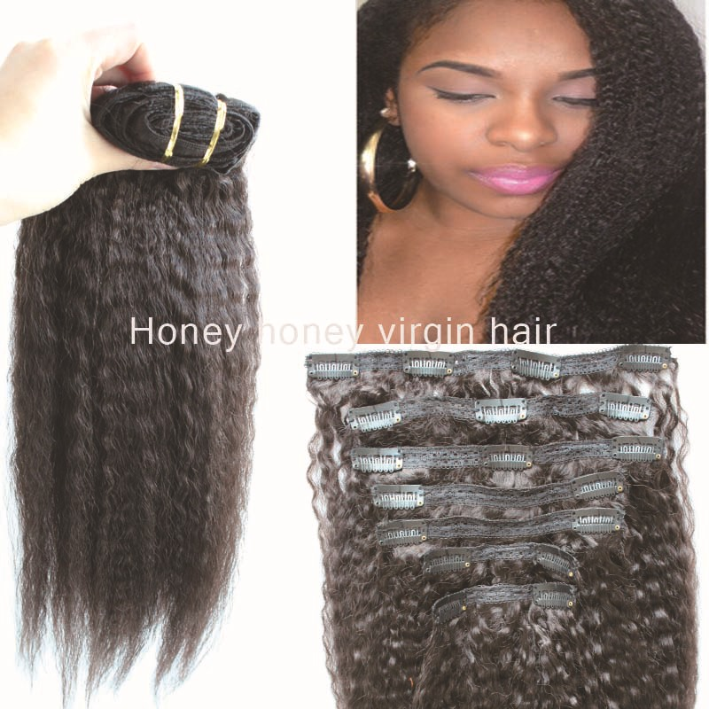 Afro coarse yaki kinky straight clip in extensions Vir-gin European hu-man hair 7pcs/lot free shipping 100grams thick full ends(China (Mainland))