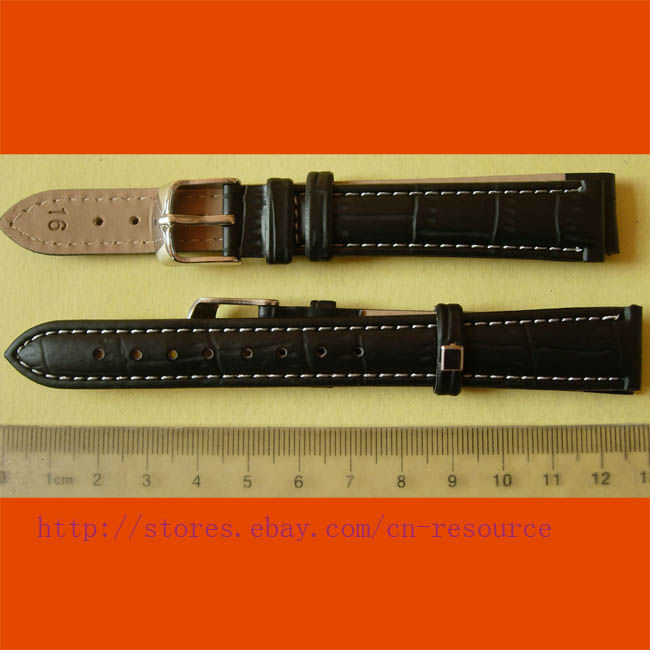 1 x 16 mm GENUINE COW LEATHER watch band black 06