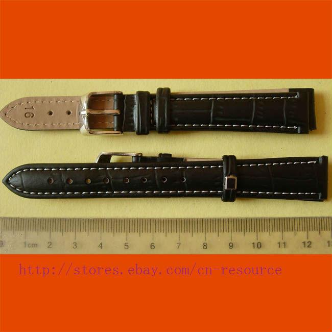 1 x 16 мм неподдельная кожа коровы часы черный #06