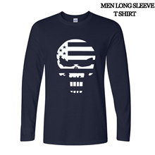 2017 autumn long sleeve Fashion American Sniper Chris Kyle Men T Shirt Punisher Skull Navy Seal Team Top Tee Casual T shirts(China (Mainland))