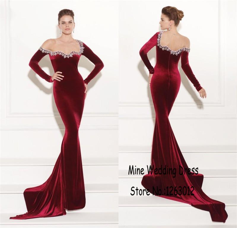 Sexy brillante con cuentas de manga larga agraciado elegante fuera del hombro vestidos fiesta Formal vestidos sirena de lujo Velvet vestido de noche en