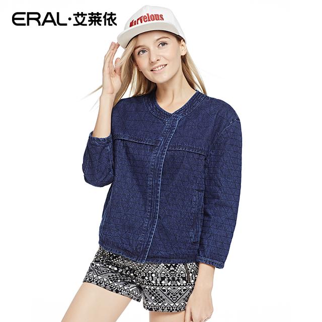 Eral 2016 весны женщин три четверти хлопок синий джинсовая куртка ERAL30009-ECAA