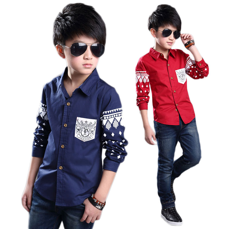 Fashion Rhombus Boys Casual Shirts Children's Cotton Spring Full Sleeves Shirt - Child Supermarket store