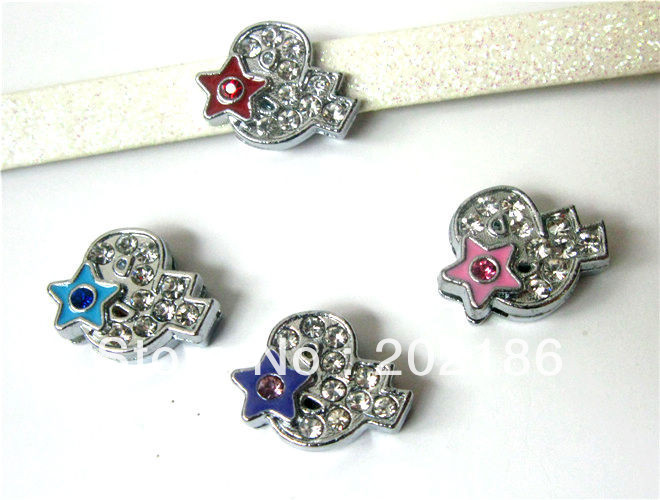 50pcs 8mm rhinestone & symbol with mix color star Slide Charms DIY Accessories Fit Pet Collars Wristbands Belts(China (Mainland))