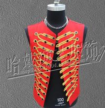 Summer  Stage Vest  Concert Dress Men Singers DJ Stage Show Formal Dress Costumes Clothing Men's Vest Red S-5XL free shipping(China (Mainland))