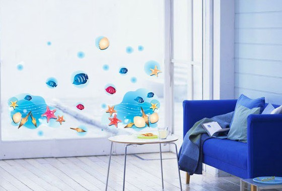 DIY Blue Ocean Fish Bathroom Window Glass Wall Mural Stickers Removable Wallp