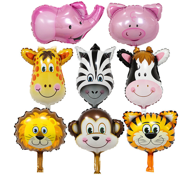 50pcs Mini Deer Lion Monkey Animal Head Helium Foil Balloons Birthday Party Animal Balloons theme Party Supplier Classic Toys(China (Mainland))