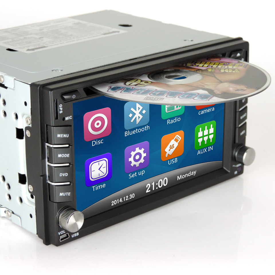 New universal car radio 2 din DVD player GPS navigation computer speakers car system free maps of TF card 2DIN CD Free shipping(China (Mainland))