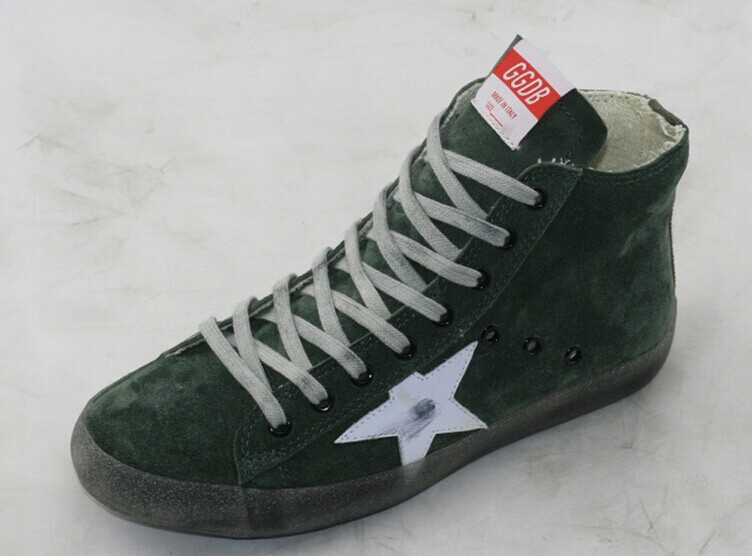 2016 Brand Italy Golden Goose GGDB Superstar Shoes Women's Men's High Top Urban Genuine Leather Green Casual Shoes Scarpe Uomini