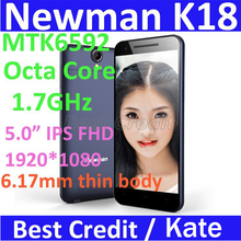 "Free shipping!Original Newman K18 MTK6592 1.7GHz Octa Core Ultra Slim phone 2GB RAM 16GB ROM 5.0"" IPS FHD 13MP GPS black/Kate(China (Mainland))"