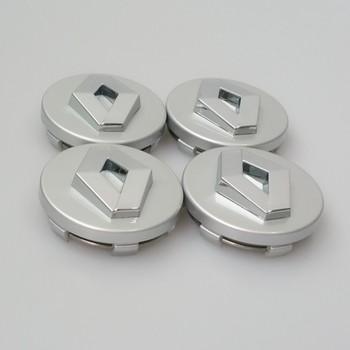 Excellent Quality Set of 4 Silver / Black Face 60mm Clip 57mm Renault Wheel Hub Cap Emblem For Koleos Logan Duster Megane Scenic
