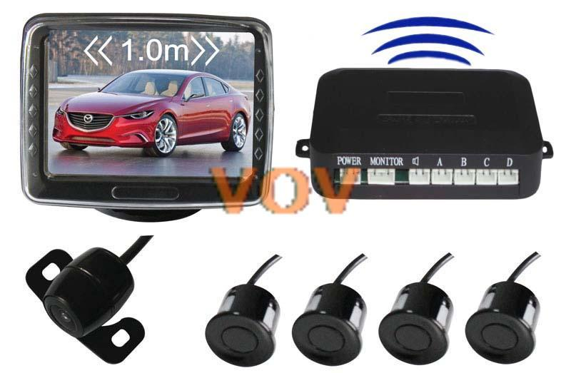 "Free shipping! Car 3.5"" TFT lcd screeb Wireless Rearview system with camera 4 rader NO.602-W(China (Mainland))"