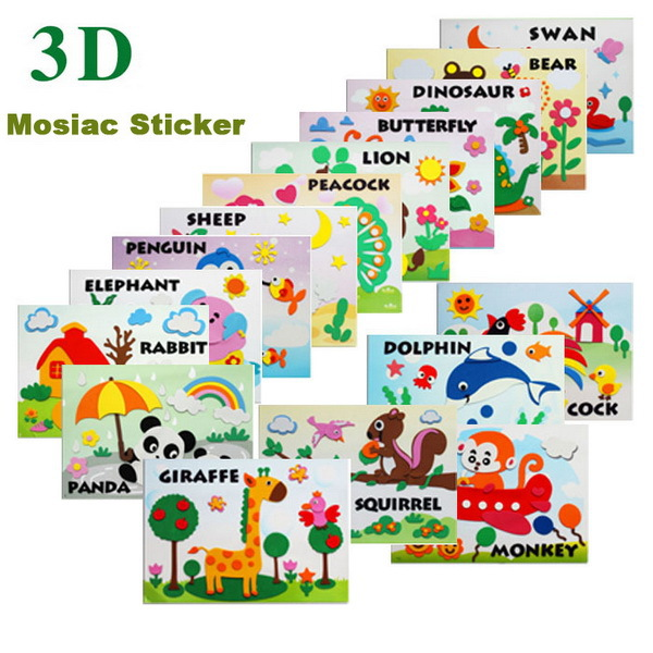 5pcs Kids 3D Cartoon Animal DIY Handmade EVA Foam Art Sticker Puzzle Self-adhesive Educational Toys for Children Gift 29*21cm(China (Mainland))