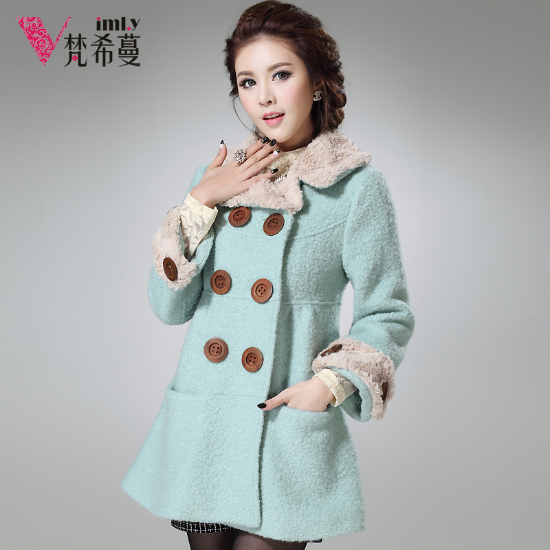 China Famous Brand  women autumn and winter clothing woolen outerwear overcoat medium-long double breasted suede big collarОдежда и ак�е��уары<br><br><br>Aliexpress