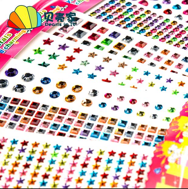 (13 Styles) DIY Hand Children's Diamonds Stickers Phone Car Acrylic Crystal Round Multicolored Rhinestone Decoration Crafts(China (Mainland))