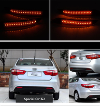 Free Shipping Auto LED Tail Lihgts Car Rear Bumper Reflector Lamp Automotive Brake Turn Signal Light for KIA K2 Hatchback(China (Mainland))