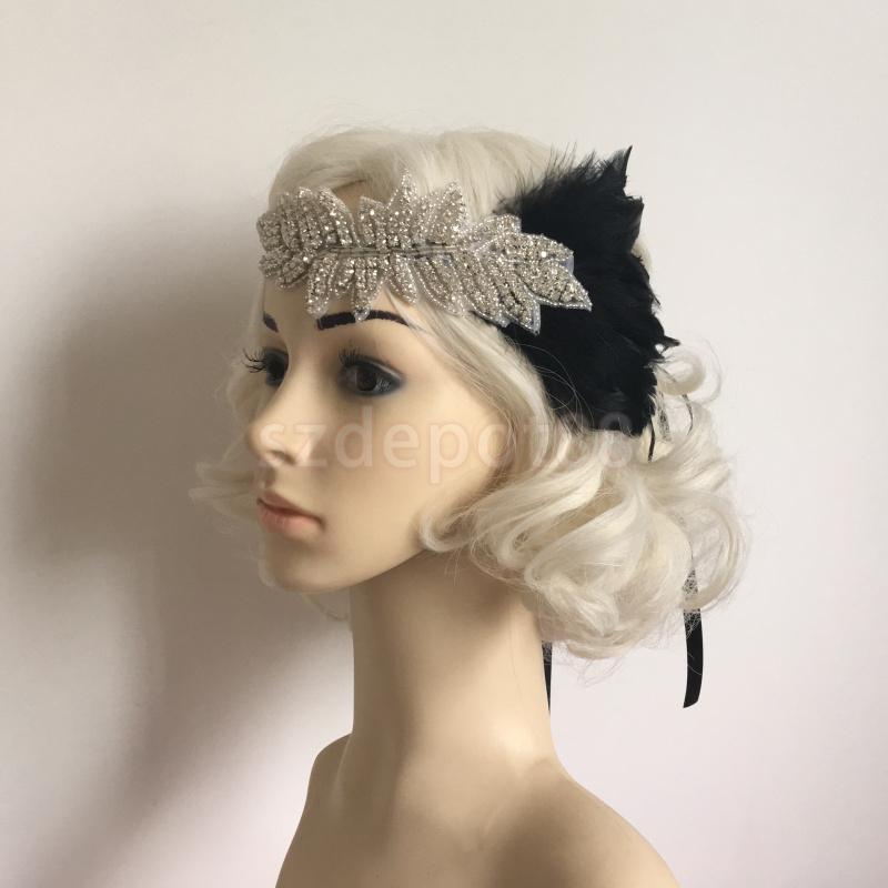 Elegant Feather Diamante Rhinestones Bridal Wedding Hair Fascinator Headband Hairband Black(China (Mainland))