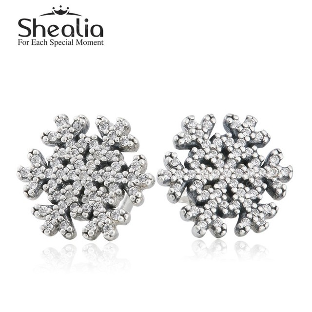 Очистить кристл вымощает 925-Sterling-Silver рождество снежинка серьги для женщин 2015 зима ювелирных украшений лучшие рождественские подарки