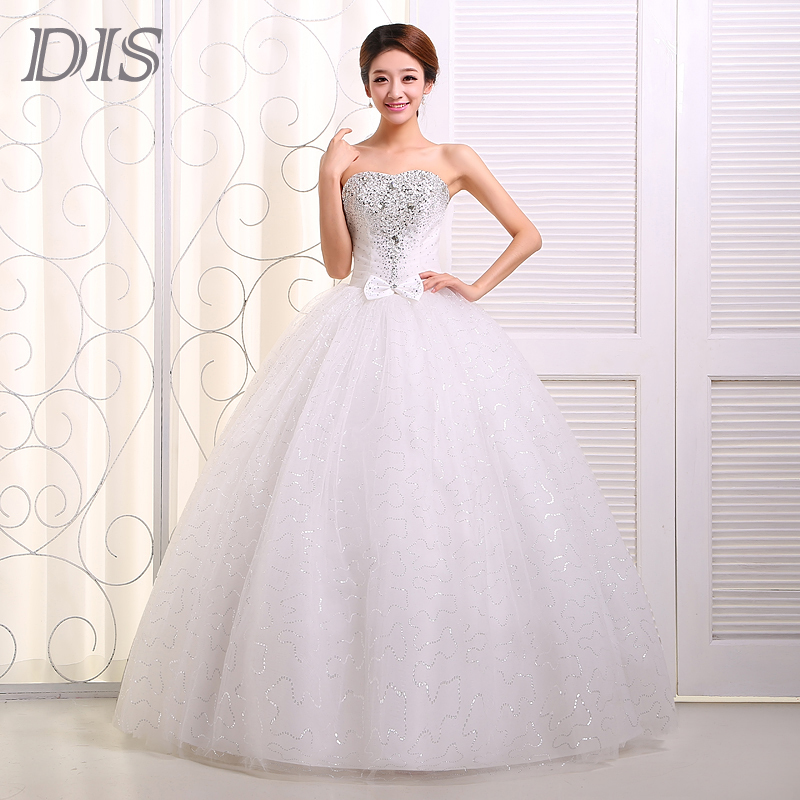 2015 red bride wedding dress tube top princess rhinestones for Cheap princess wedding dress