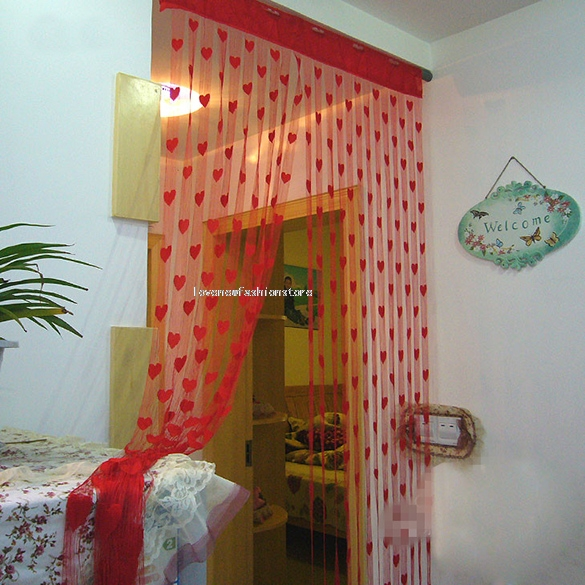 Cute heart line tassel string door curtain window room for Cute curtain ideas for living room