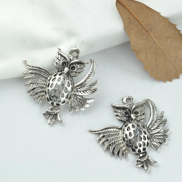 5pcs alloy Tibetan Silver Plated owl Charms Pendants Jewelry Making DIY Handmade Craft 37*36mm 2170