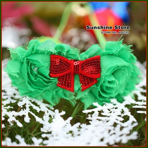 Sunshine store #2B2283  10pcs/lot(green red )baby headband girls shabby rose flower Sequins bow headband Christmas headwear CPAM