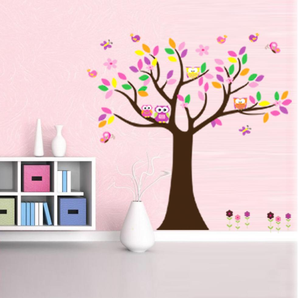 beautiful colorfull Birds, butterflies tree for home decor wall decal decorative wall decor removable pvc wall sticker