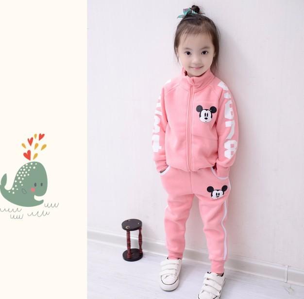Скидки на 2016 Dongkuan Корейский бренд детской одежды мальчиков и девочек из двух частей хлопка костюм куртка молнии мультфильм