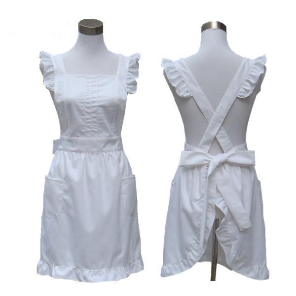 Fashion Pure Color White Cotton Apron Princess Lovely Kitchen Salon Hairdress Ruffled Cross Back Cosplay Apron(China (Mainland))
