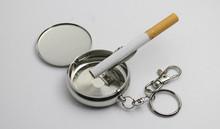 100pcs/lot Pocket Stainless Steel Portable Round Cigarette Ashtray With Keychain ,Mini Cigarette Ashtray,metal display box(China (Mainland))