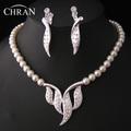Free Shipping Austrian Crystal Rhodium Leaf Crystal Accessories Elegant Imitation Pearl Costume Wedding Jewelry Sets For