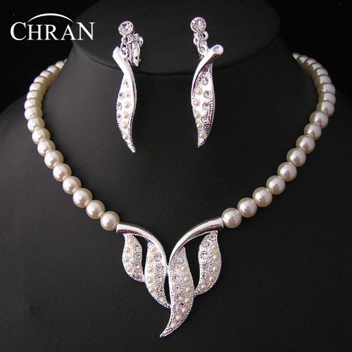 Free Shipping Austrian Crystal Rhodium Leaf Crystal Accessories Elegant Imitation Pearl Costume Wedding Jewelry Sets For Women