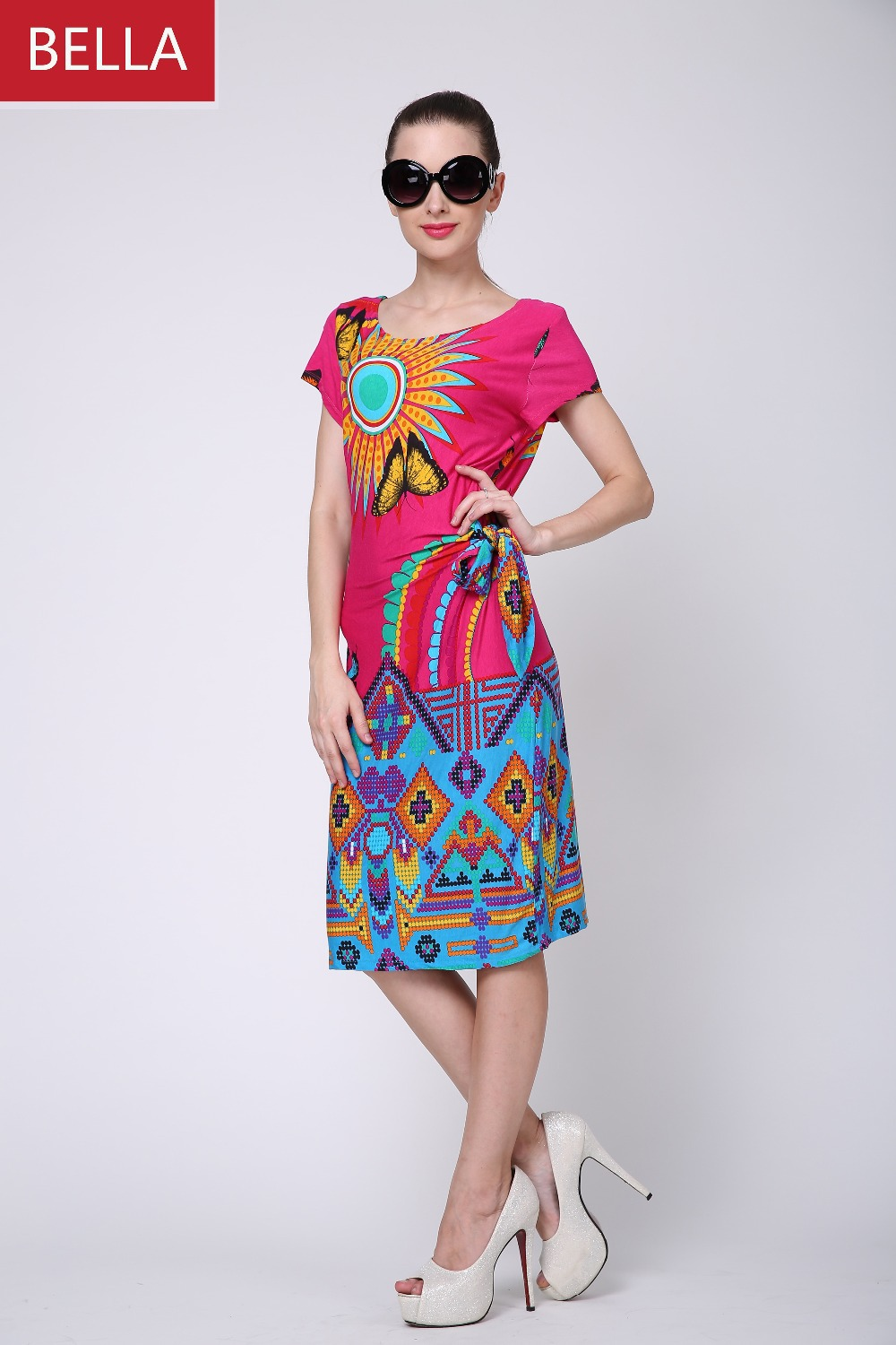 2016 Fashion Style Butterfly Printing Straight Casual Dress European Size Women Summer - Bella Dreamin store