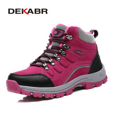 Real Leather Outdoor Hiking Shoes Plus Velvet Men Warm Snow Boots Walking Climbing Non-slip Women Hiking Shoes Trekking Shoes(China (Mainland))