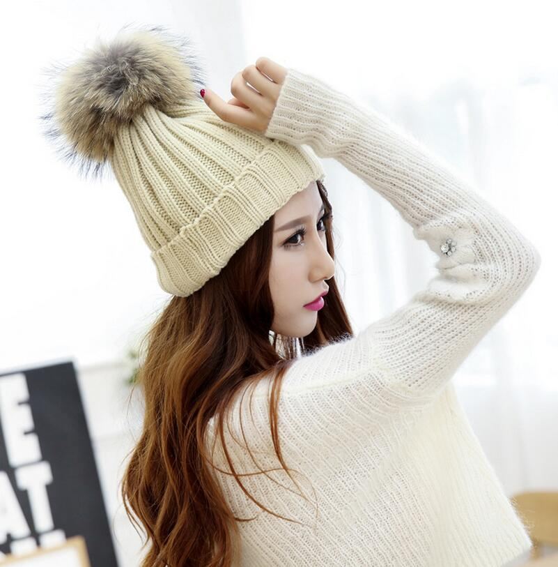 true racoon dog fur ball cap poms winter hat for women girl 's wool hat knitted cotton beanies cap brand new thick female cap(China (Mainland))