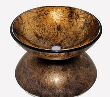 4272-2 Brown Colorful Painting Construction & Real Estate Bathroom Round Art Washbasin Tempered Glass Vessel Sink