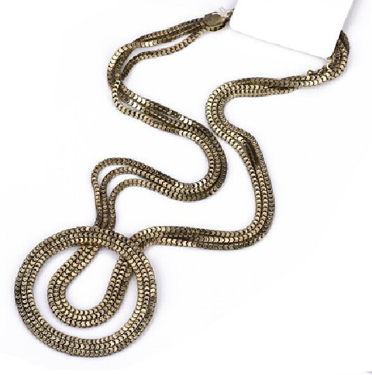 2014 New European Style Exaggerated Vintage Noble Women Multilayer Bronze Chain Lovers Necklace N3303(China (Mainland))
