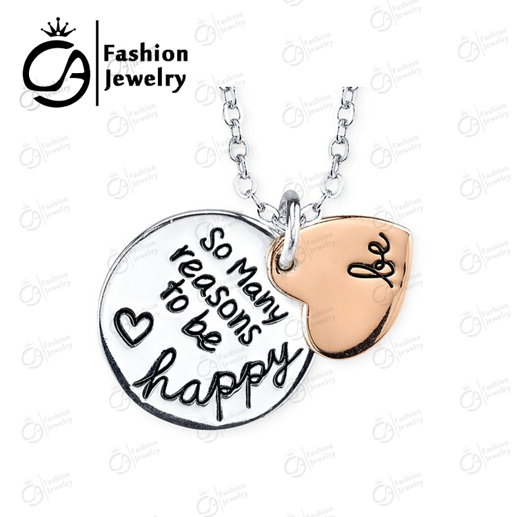 Two Tone Rose Gold Silver BE SO MANY REASON TO BE HAPPY 2 Part Heart Pendant Necklace Women Mother Gift #LN1077(China (Mainland))