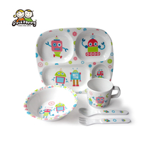 5pcs Baby Melamine Dinnerware Set Character Feeding Set Include 4-divided Plate Bowl Cup Spoon Fork For Boys/Girls
